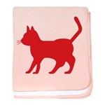 Red Cat Icon baby blanket