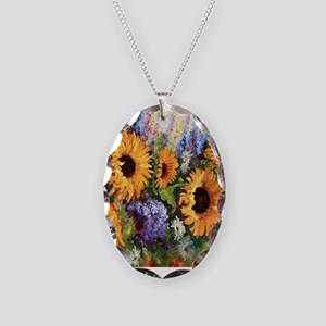 Sunflower Necklace Oval Charm