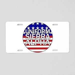 USA - Flag Aluminum License Plate