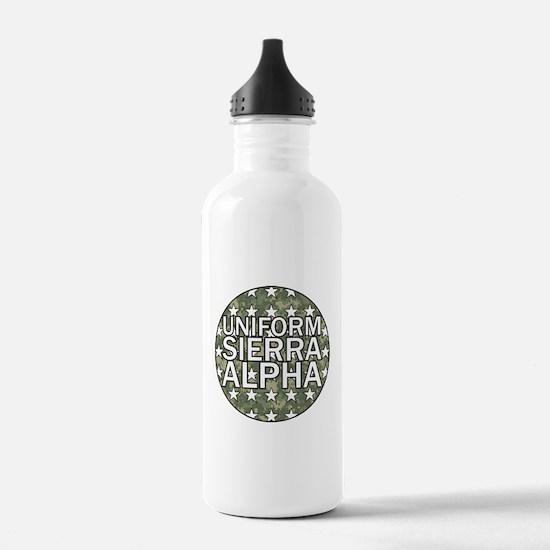 USA - Camo Flag Water Bottle