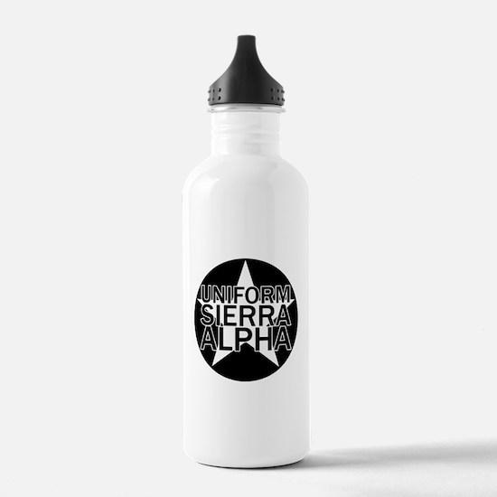 USA - Black & White Water Bottle