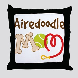 Airedoodle Dog Mom Throw Pillow