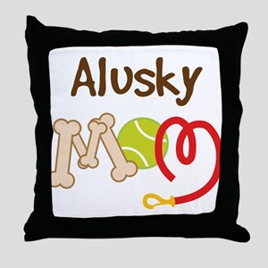 Alusky Dog Mom Throw Pillow