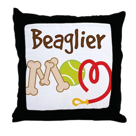 Beaglier Dog Mom Throw Pillow