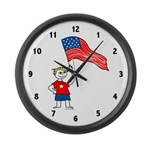 USA Boy Large Wall Clock