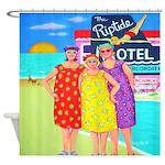 Funny Whimsical Beach Women Shower Curtain