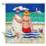 Nautical Sandcastle Woman Beach Shower Curtain
