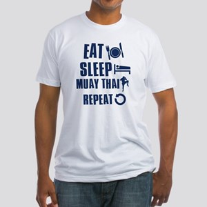 Eat Sleep Muay Thai Fitted T-Shirt