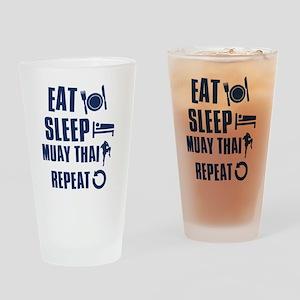 Eat Sleep Muay Thai Drinking Glass