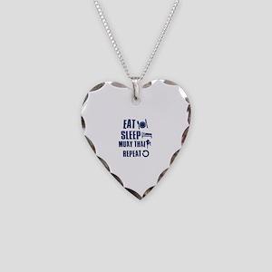 Eat Sleep Muay Thai Necklace Heart Charm
