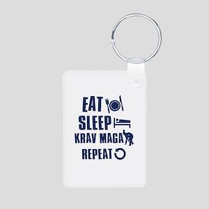 Eat Sleep Krav Maga Aluminum Photo Keychain