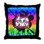 Rainbow Cartoon Skull Throw Pillow