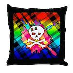 Rainbow Plaid Skull Throw Pillow
