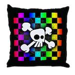 Checker Rainbow Skull Throw Pillow