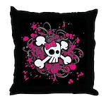 Girly Skull & Crossbones Throw Pillow