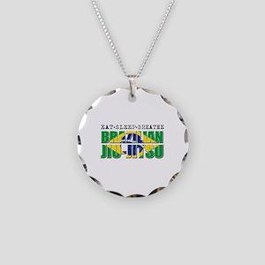 Eat Sleep Brazilian Jiu Jitsu Necklace Circle Char