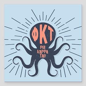 """Phi Kappa Tau Octopus Square Car Magnet 3"""" x 3"""""""