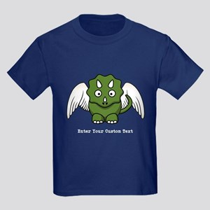 Triceratops Dinosaur Angel Wings Kids Dark T-Shirt