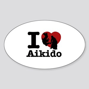 Aikido Heart Designs Sticker (Oval)