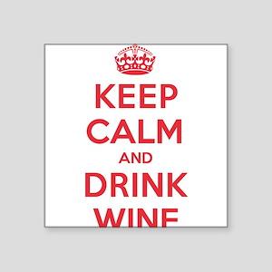 "K C Drink Wine Square Sticker 3"" x 3"""