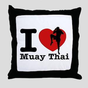 Muay Thai Heart Designs Throw Pillow