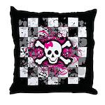 Checker Splatter Skull Throw Pillow