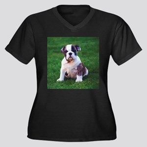 Cute Bulldog Women's Plus Size V-Neck Dark T-Shirt