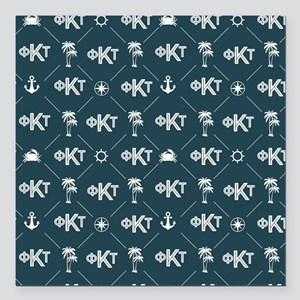 "Phi Kappa Tau Pattern Blue Square Car Magnet 3"" x"