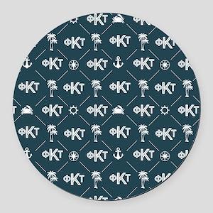 Phi Kappa Tau Pattern Blue Round Car Magnet