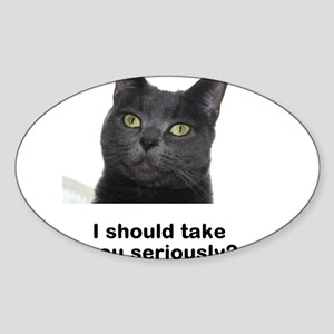 Seriously Blue Cat Sticker (Oval)