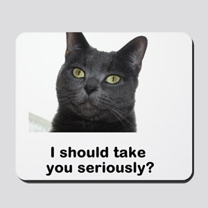 Seriously Blue Cat Mousepad