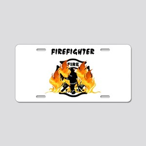 Firefighting Flames Aluminum License Plate