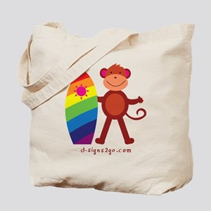 Monkey Surfing Tote Bag