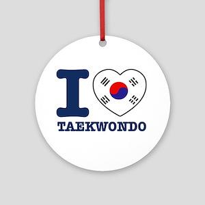 Taekwondo Flag Designs Ornament (Round)