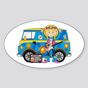 Hippie Girl and Camper Van Sticker (Oval)