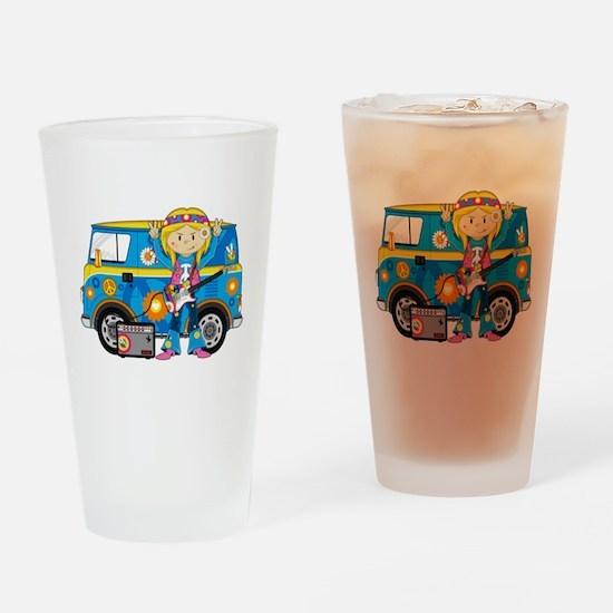 Hippie Girl and Camper Van Drinking Glass