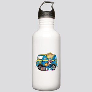 Hippie Girl and Camper Van Stainless Water Bottle