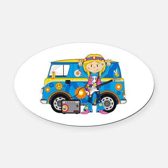 Hippie Girl and Camper Van Oval Car Magnet