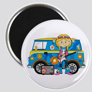 Hippie Girl and Camper Van Magnet