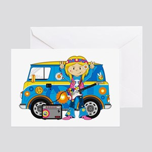 Hippie Girl and Camper Van Greeting Card