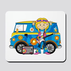 Hippie Girl and Camper Van Mousepad
