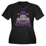 Trucker Cindy Women's Plus Size V-Neck Dark T-Shir