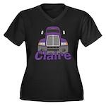 Trucker Claire Women's Plus Size V-Neck Dark T-Shi