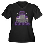 Trucker Connie Women's Plus Size V-Neck Dark T-Shi