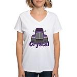 Trucker Crystal Women's V-Neck T-Shirt