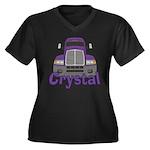 Trucker Crystal Women's Plus Size V-Neck Dark T-Sh