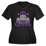 Trucker Cynthia Women's Plus Size V-Neck Dark T-Sh