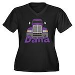 Trucker Dana Women's Plus Size V-Neck Dark T-Shirt
