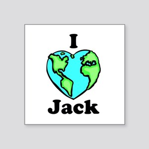 "I heart globe Jack Square Sticker 3"" x 3&quot"