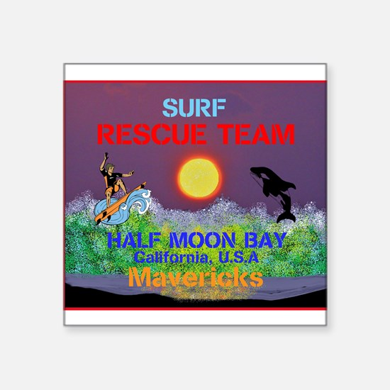 "Half Moon Bay Mavericks Square Sticker 3"" x 3"""